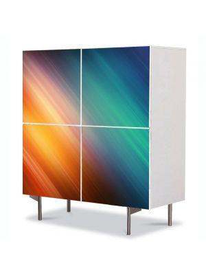 Comoda cu 4 Usi Art Work Abstract Diagonala curcubeu, 84 x 84 cm