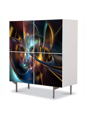 Comoda cu 4 Usi Art Work Abstract Abstract culori inchise, 84 x 84 cm