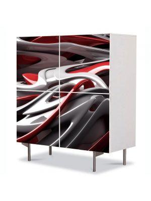 Comoda cu 4 Usi Art Work Abstract Plastic alb-rosu, 84 x 84 cm