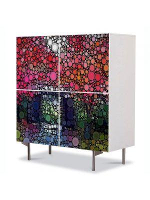 Comoda cu 4 Usi Art Work Abstract Buline colorate, 84 x 84 cm