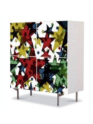 Comoda cu 4 Usi Art Work Abstract Textura stele, 84 x 84 cm