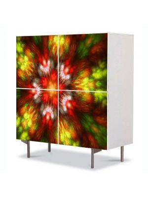 Comoda cu 4 Usi Art Work Abstract Floare, 84 x 84 cm