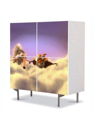 Comoda cu 4 Usi Art Work pentru Copii Animatie Ice Age 3 Scrat si Scratte , 84 x 84 cm