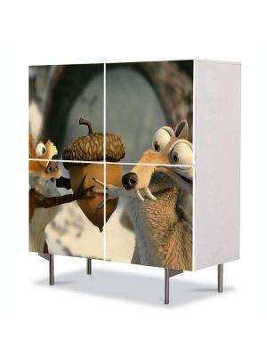 Comoda cu 4 Usi Art Work pentru Copii Animatie Ice Age Dawn of the Dinosaurs 2 , 84 x 84 cm