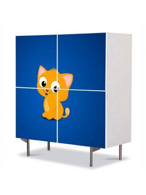 Comoda cu 4 Usi Art Work pentru Copii Animatie Pisica Animata , 84 x 84 cm