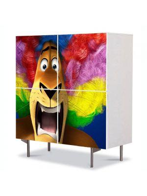 Comoda cu 4 Usi Art Work pentru Copii Animatie Madagascar 3 Peruca Curcubeu , 84 x 84 cm