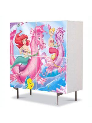Comoda cu 4 Usi Art Work pentru Copii Animatie Disney Ariel , 84 x 84 cm