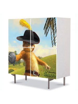 Comoda cu 4 Usi Art Work pentru Copii Animatie Shrek Motanul Incaltat in Ultimul Capitol , 84 x 84 cm