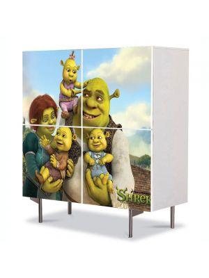 Comoda cu 4 Usi Art Work pentru Copii Animatie Shrek, Fiona si copiii , 84 x 84 cm