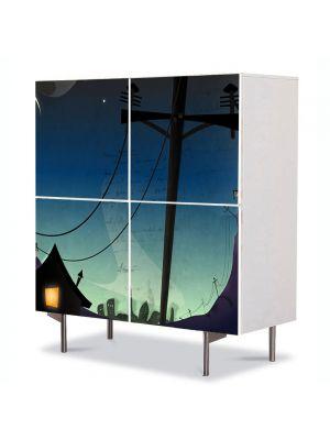 Comoda cu 4 Usi Art Work pentru Copii Animatie Desen Animat Arta , 84 x 84 cm