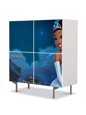 Comoda cu 4 Usi Art Work pentru Copii Animatie Printesa si Broasca Tiana , 84 x 84 cm
