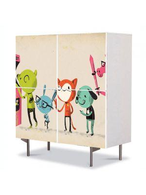 Comoda cu 4 Usi Art Work pentru Copii Animatie Camera de jocuri , 84 x 84 cm