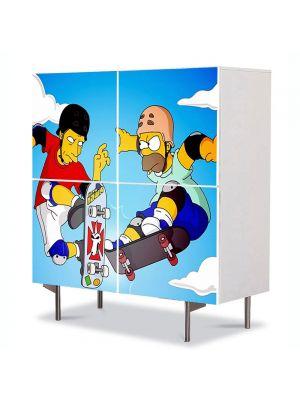 Comoda cu 4 Usi Art Work pentru Copii Animatie Homer and Tony Hawk , 84 x 84 cm