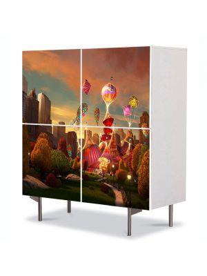 Comoda cu 4 Usi Art Work pentru Copii Animatie Madagascar 3 Europes Most Wanted New York Circus , 84 x 84 cm
