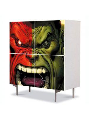 Comoda cu 4 Usi Art Work pentru Copii Animatie Red Hulk vs Green Hulk , 84 x 84 cm