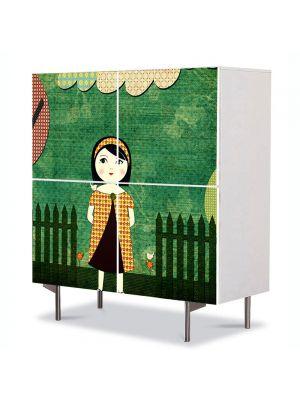 Comoda cu 4 Usi Art Work pentru Copii Animatie Dupa amiaza in parc , 84 x 84 cm