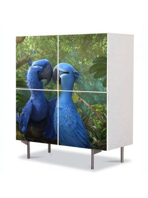 Comoda cu 4 Usi Art Work pentru Copii Animatie Rio 2 Blue si Jewel , 84 x 84 cm