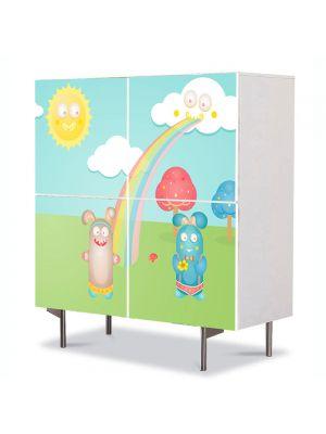 Comoda cu 4 Usi Art Work pentru Copii Animatie Fitzroy Rabbits , 84 x 84 cm