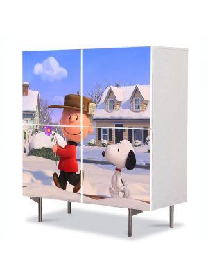 Comoda cu 4 Usi Art Work pentru Copii Animatie Filmul Peanuts , 84 x 84 cm