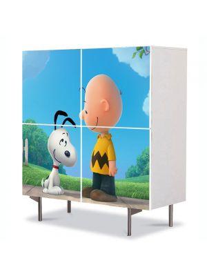 Comoda cu 4 Usi Art Work pentru Copii Animatie Peanuts Film de Animatie , 84 x 84 cm