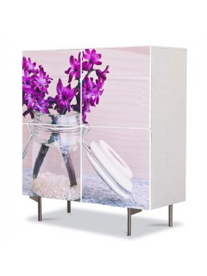 Comoda cu 4 Usi Art Work Flori Zambile Violet, 84 x 84 cm