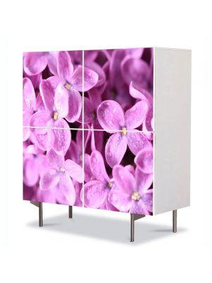 Comoda cu 4 Usi Art Work Flori Liliac violet, 84 x 84 cm