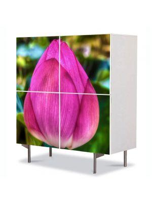 Comoda cu 4 Usi Art Work Flori Floare de Lotus, 84 x 84 cm