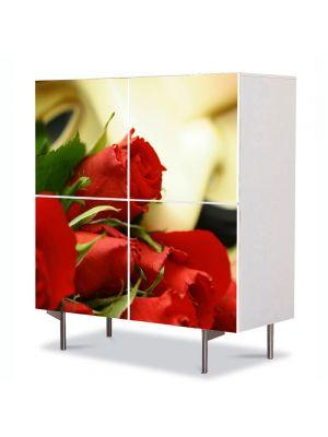 Comoda cu 4 Usi Art Work Flori Buchet trandafiri, 84 x 84 cm
