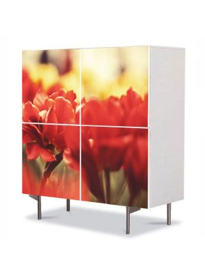 Comoda cu 4 Usi Art Work Flori Amintiri, 84 x 84 cm