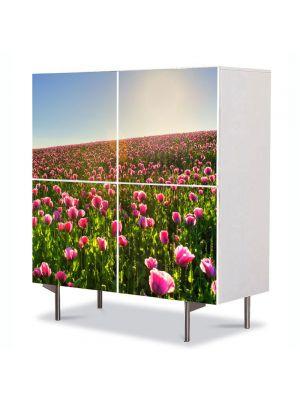 Comoda cu 4 Usi Art Work Flori Superb camp colorat cu flori, 84 x 84 cm