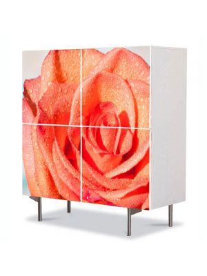 Comoda cu 4 Usi Art Work Flori Trandafir portocaliu, 84 x 84 cm