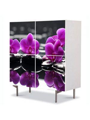 Comoda cu 4 Usi Art Work Flori Orhidee pe apa, 84 x 84 cm
