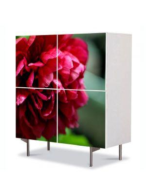 Comoda cu 4 Usi Art Work Flori Bujori rosii, 84 x 84 cm