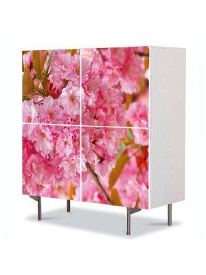 Comoda cu 4 Usi Art Work Flori Copac Sakura japonez inflorit, 84 x 84 cm
