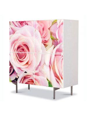 Comoda cu 4 Usi Art Work Flori Trandafiri rozalii, 84 x 84 cm