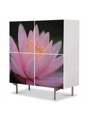 Comoda cu 4 Usi Art Work Flori Liliac de apa roz, 84 x 84 cm