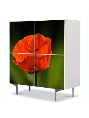 Comoda cu 4 Usi Art Work Flori Floare de mac, 84 x 84 cm