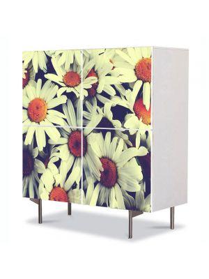 Comoda cu 4 Usi Art Work Flori Flori de musetel, 84 x 84 cm