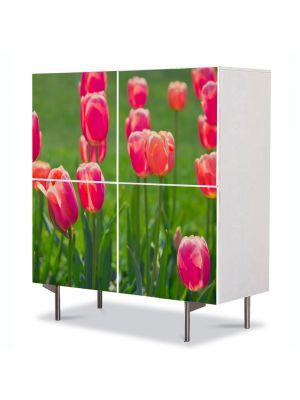 Comoda cu 4 Usi Art Work Flori Lalele de camp, 84 x 84 cm