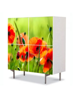 Comoda cu 4 Usi Art Work Flori Maci frumosi, 84 x 84 cm