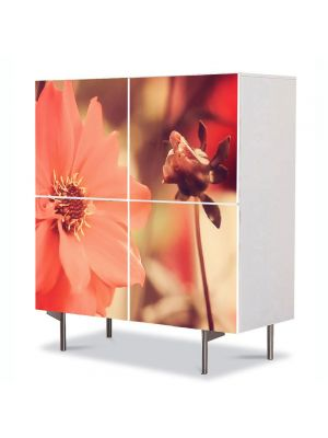 Comoda cu 4 Usi Art Work Flori Flori mari albe, 84 x 84 cm
