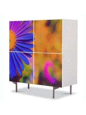 Comoda cu 4 Usi Art Work Flori Floare Violet, 84 x 84 cm