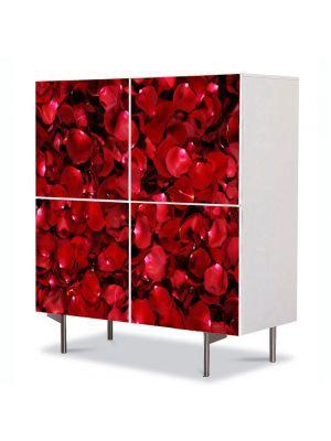Comoda cu 4 Usi Art Work Flori Petale de trandafiri rosii, 84 x 84 cm