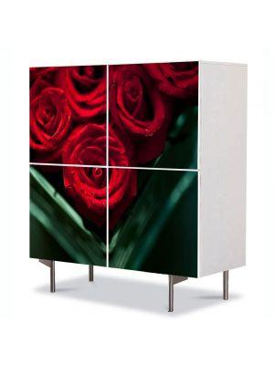 Comoda cu 4 Usi Art Work Flori Trandafiri rosii in vaza, 84 x 84 cm