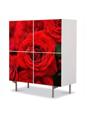 Comoda cu 4 Usi Art Work Flori Buchete de trandafiri, 84 x 84 cm