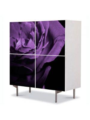 Comoda cu 4 Usi Art Work Flori Trandafir violet, 84 x 84 cm