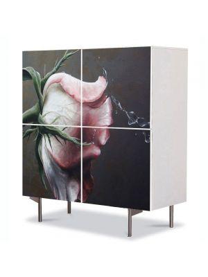 Comoda cu 4 Usi Art Work Flori Trandafir de poveste, 84 x 84 cm