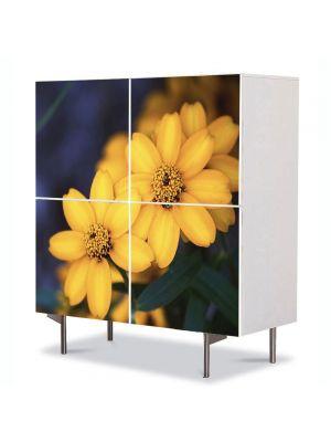 Comoda cu 4 Usi Art Work Flori Floricele galbenele, 84 x 84 cm
