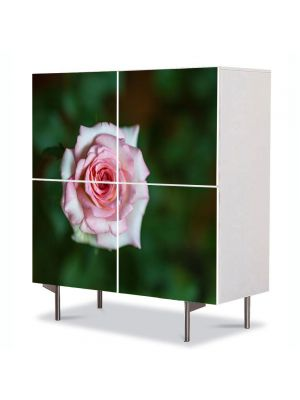 Comoda cu 4 Usi Art Work Flori Fir de Trandafir Violet, 84 x 84 cm