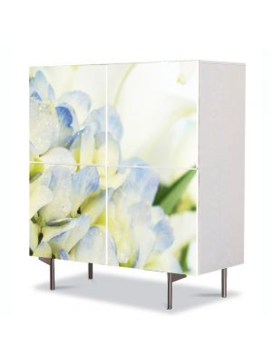Comoda cu 4 Usi Art Work Flori Lilieci albi, 84 x 84 cm